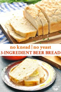 Long collage with text of no knead 3 ingredient beer bread