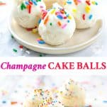 Long collage image of Champagne Cake Balls