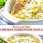 Long collage image of Chicken Florentine Pasta