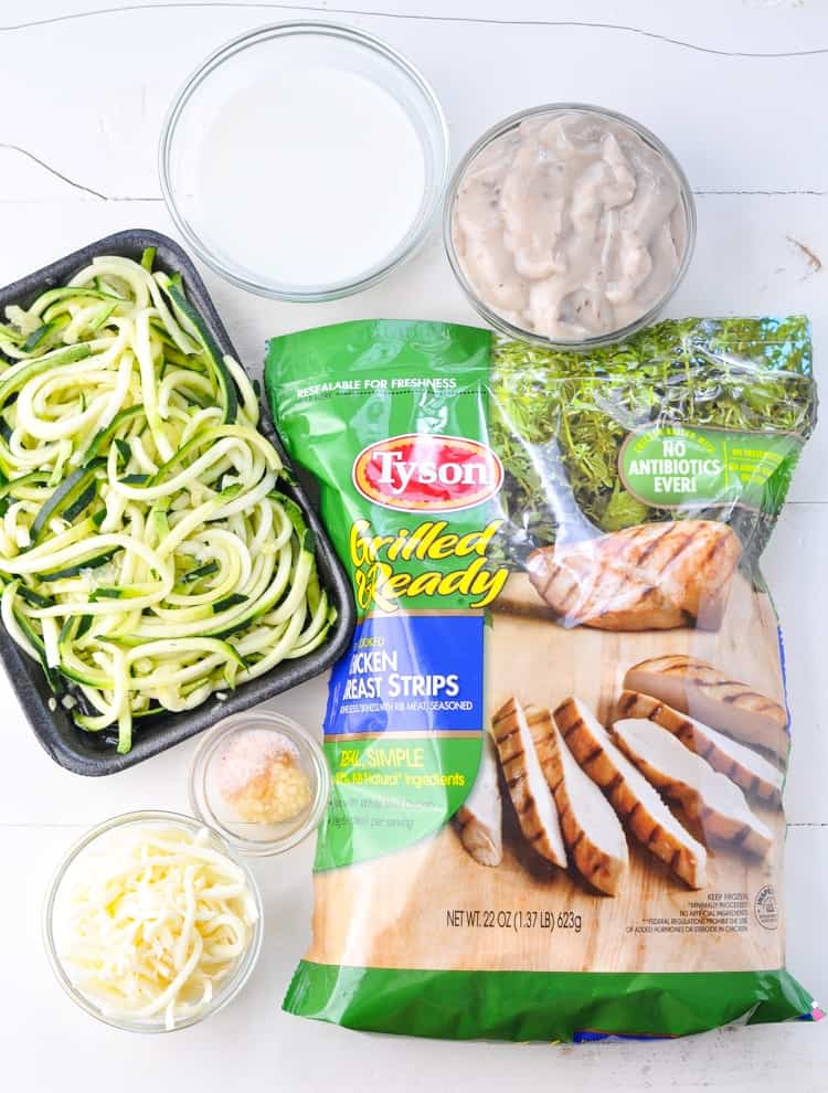 Overhead shot of ingredients for Dump and Bake Chicken and Zucchini Noodles Recipe
