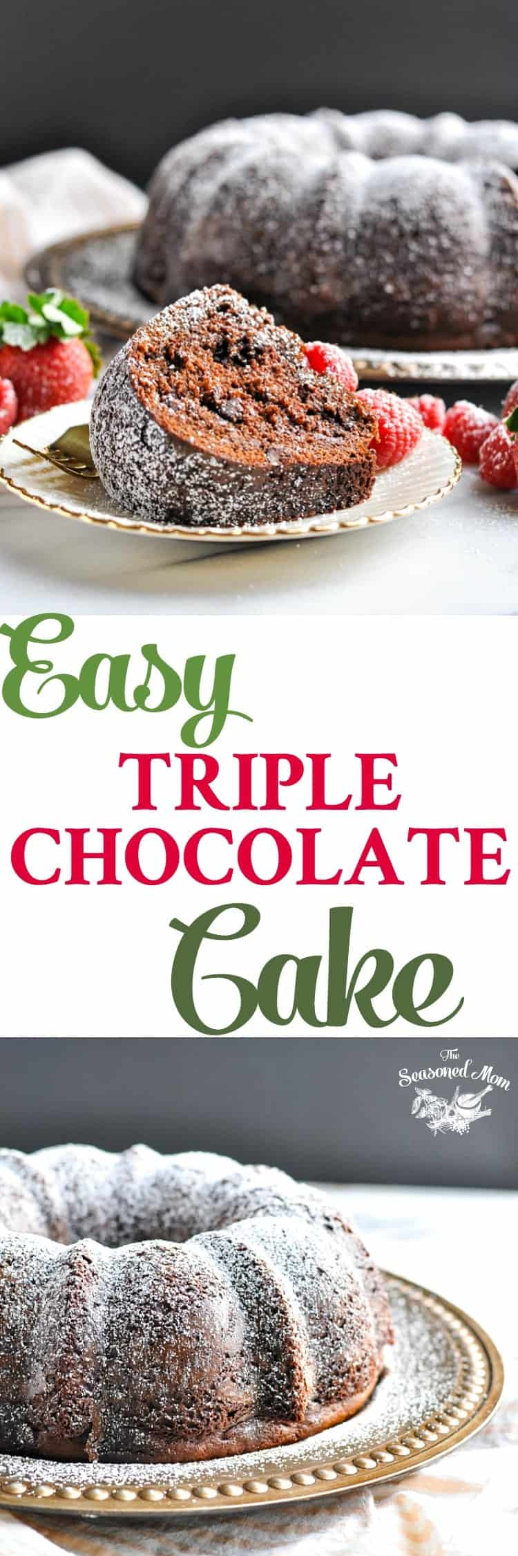 With a little bit of help from a boxed mix (plus a few secret ingredients), Claudia's Easy Triple Chocolate Cake is ready for the oven in about 10 minutes! Cake Mix Recipes | Bundt Cake Recipes | Easy Dessert Recipes | Chocolate Dessert #chocolate #cake #cakemix #dessert #TheSeasonedMom
