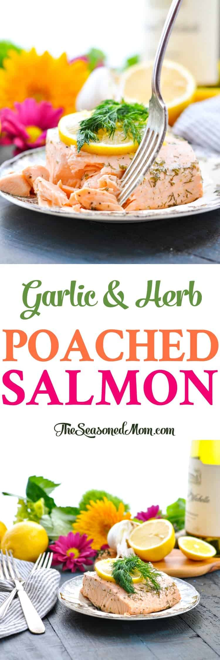 Long vertical image of poached salmon on a plate