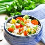 Healthy Slow Cooker Chicken Stew in a bowl with text overlay