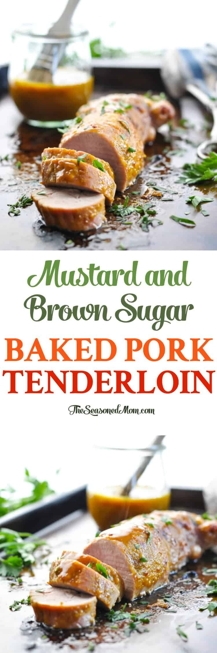 Long vertical image of baked pork tenderloin