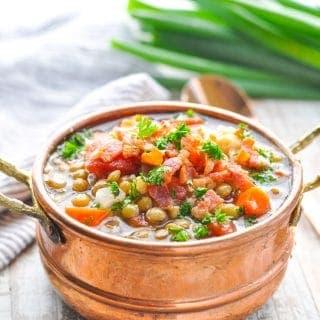 Slow Cooker Lentil Soup  {or Stovetop}