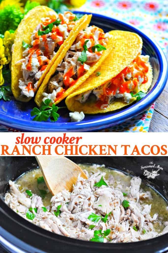 Long collage of Ranch Chicken Tacos in a Crock Pot
