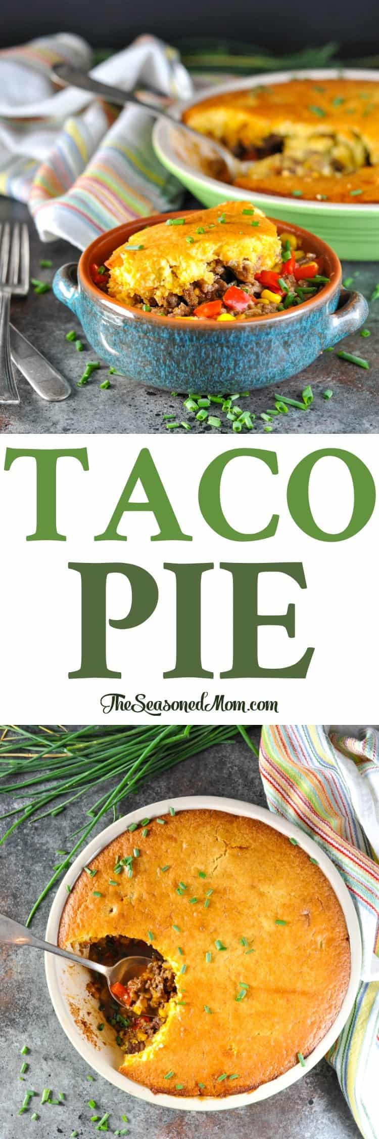This Taco Pie is an easy ground beef recipe that's perfect for your next weeknight dinner! Dinner Ideas | Easy Dinner Recipes | Ground Beef Recipes #dinner #beef #taco #casserole #TheSeasonedMom