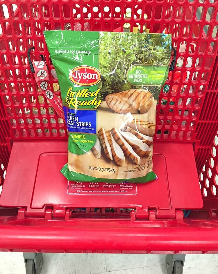 Tyson Grilled and Ready Chicken Breast Strips in Target shopping cart