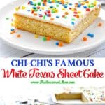 Long collage of White Texas Sheet Cake