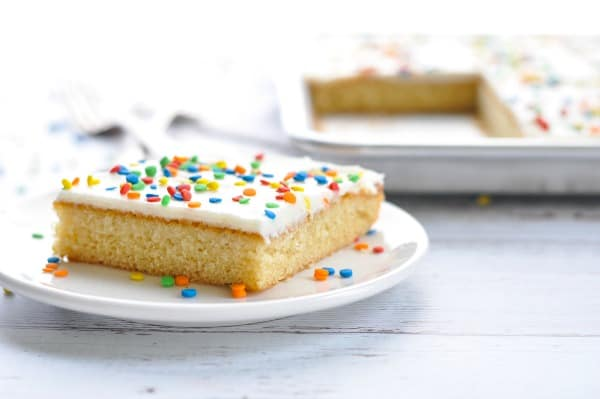 Horizontal image of piece of white texas sheet cake
