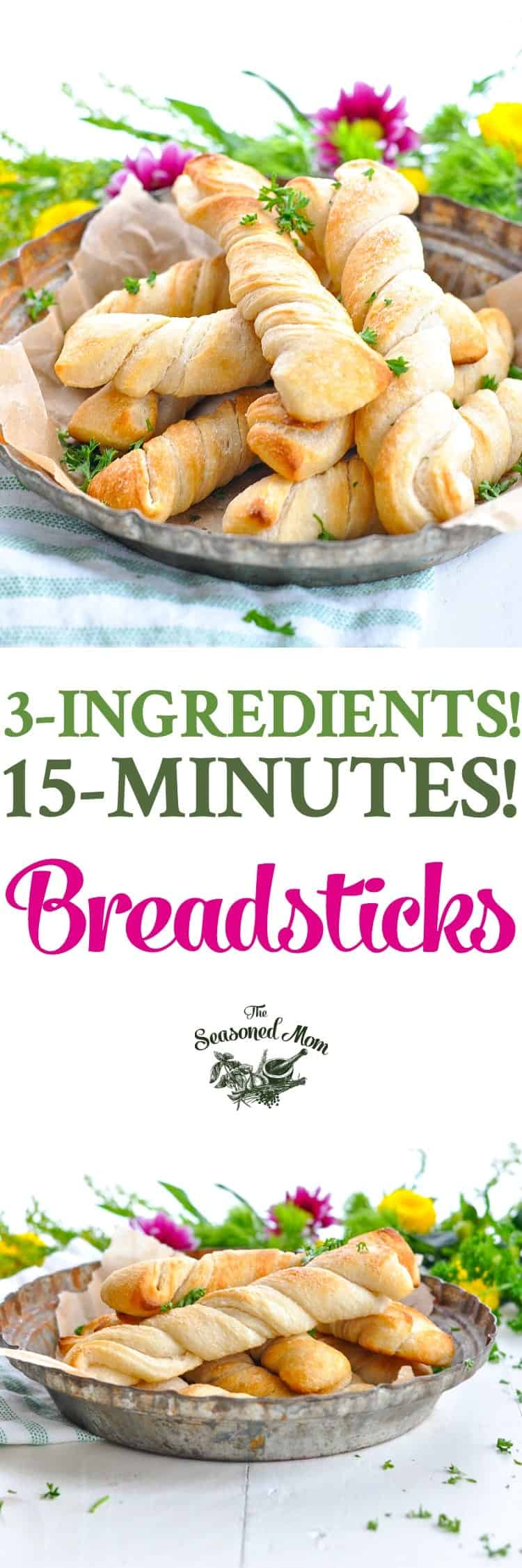 Long vertical image of homemade breadsticks with just 3 ingredients in a dish.