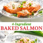 Long collage of 4 ingredient baked salmon recipe
