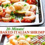 Long collage of Italian Baked Shrimp recipe