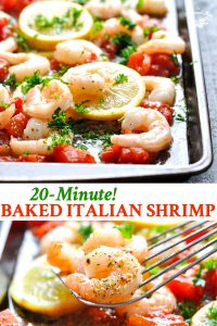 Long collage of Italian Baked Shrimp recipe