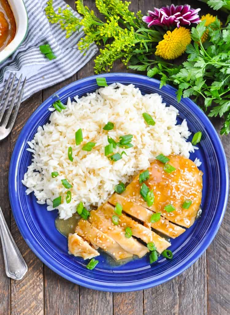 Overhead image of baked chicken breasts on a plate with rice and topped with green onion.