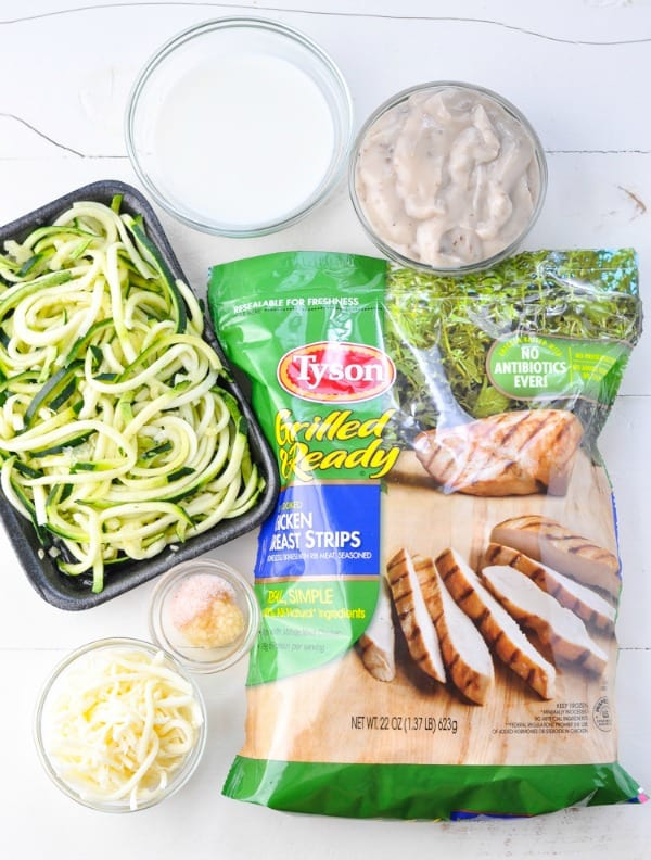 Ingredients for baked chicken and zucchini noodles recipe
