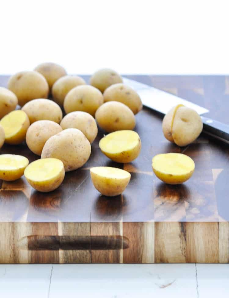 Sliced baby gold potatoes