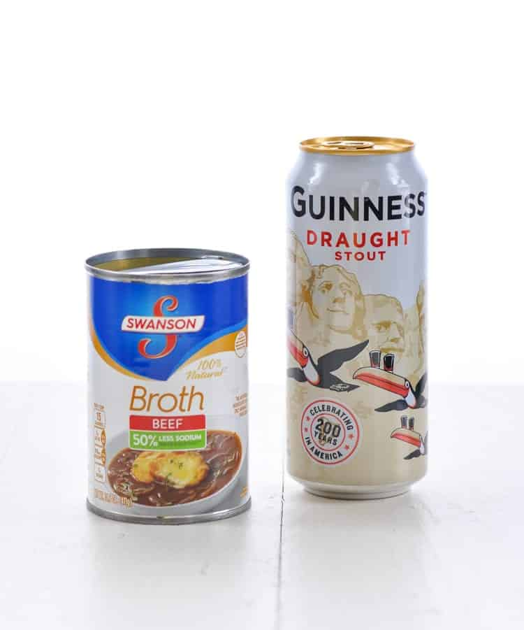 Photo of beef broth and can of Guinness beer