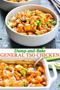 Long collage of baked General Tso Chicken