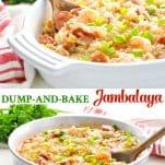Long collage of Dump and Bake Jambalaya