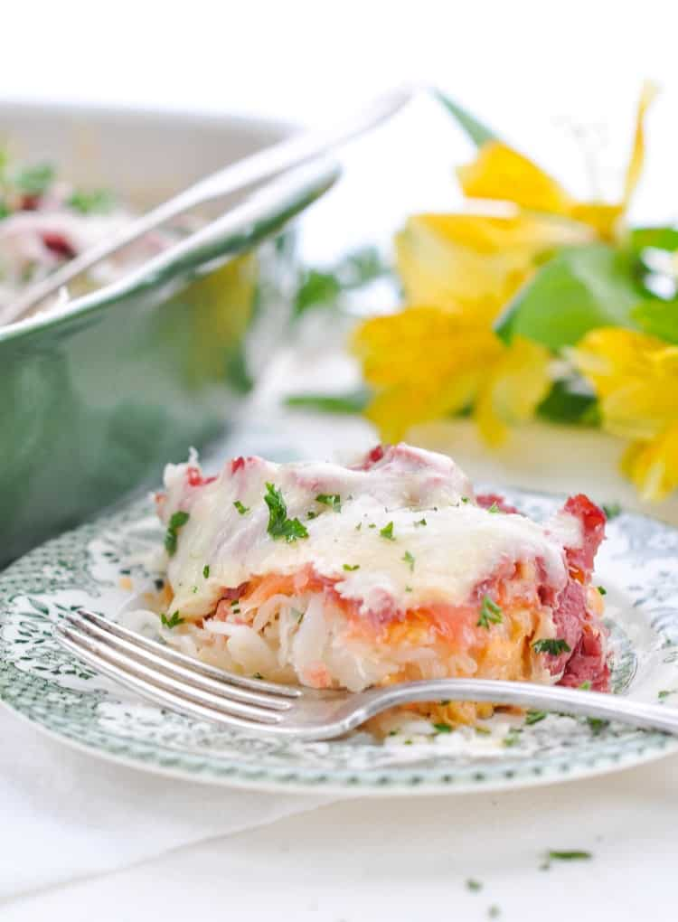 A serving of Reuben casserole on a plate is an easy dinner and a delicious Irish recipe!