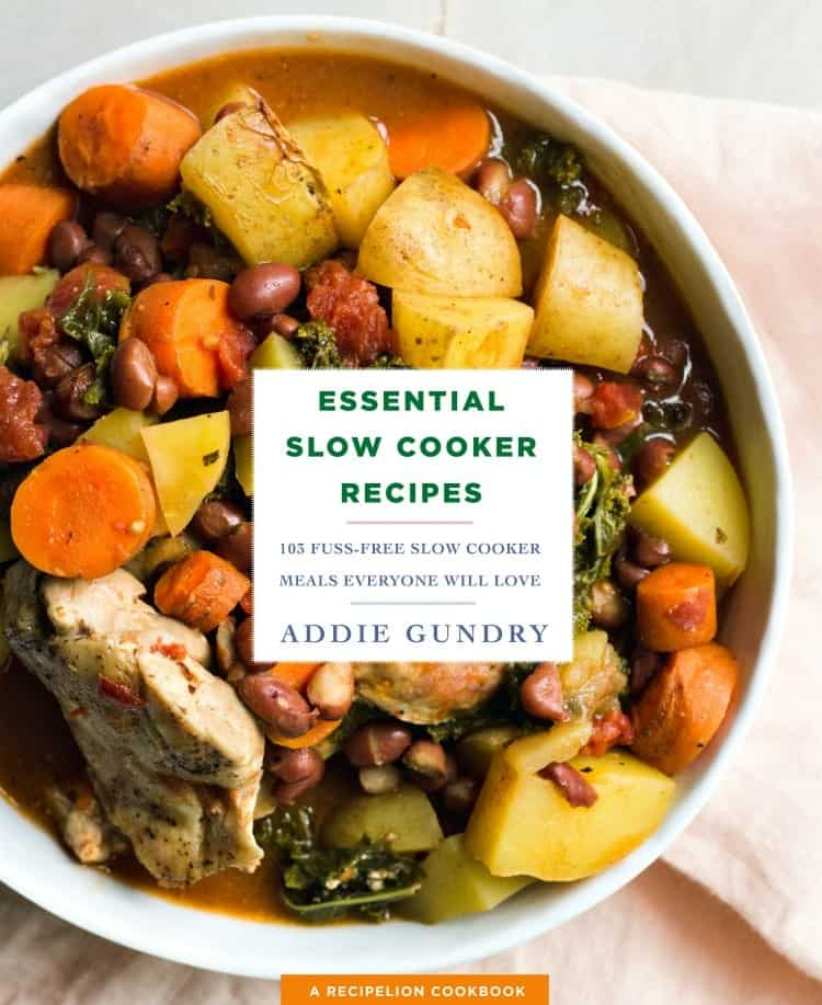 A image of a book cover of Essential Slow Cooker Recipes