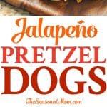 A long collage image of jalapeno pretzel dogs