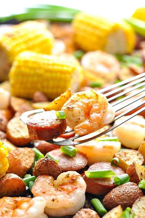 Shrimp and kielbasa from low country boil on a spatula