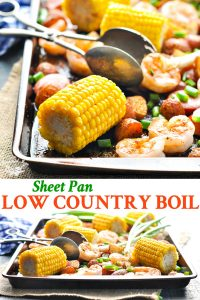 Long collage of Sheet Pan Low Country Boil
