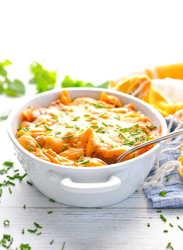 Front shot of taco pasta in a white baking dish