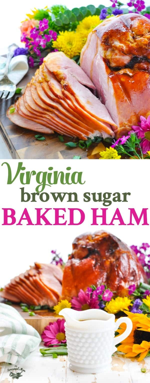 Long vertical image of Virginia Baked Ham with a Brown Sugar Glaze