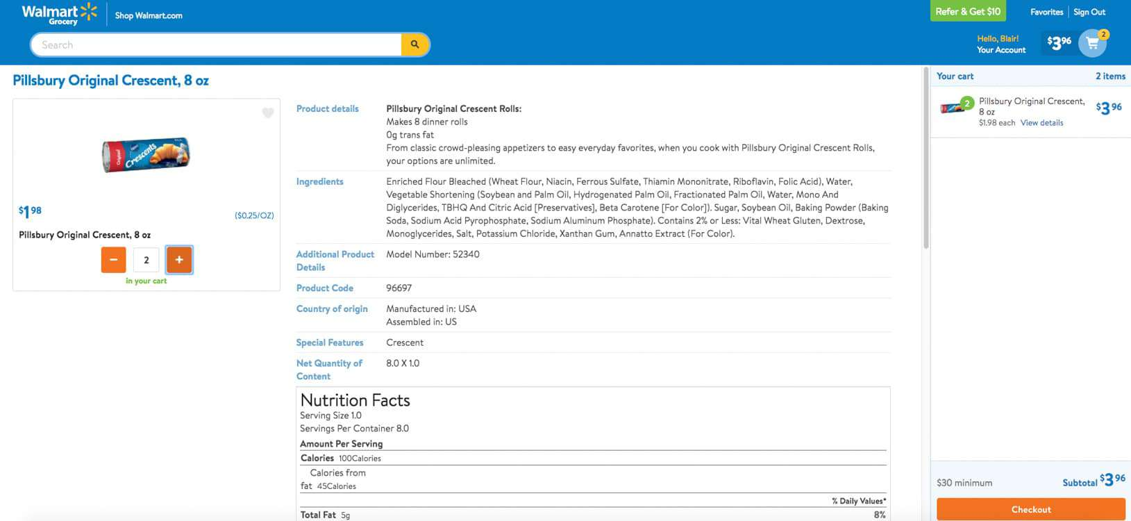 Screenshot of Pillsbury Crescent Rolls online grocery order at Walmart