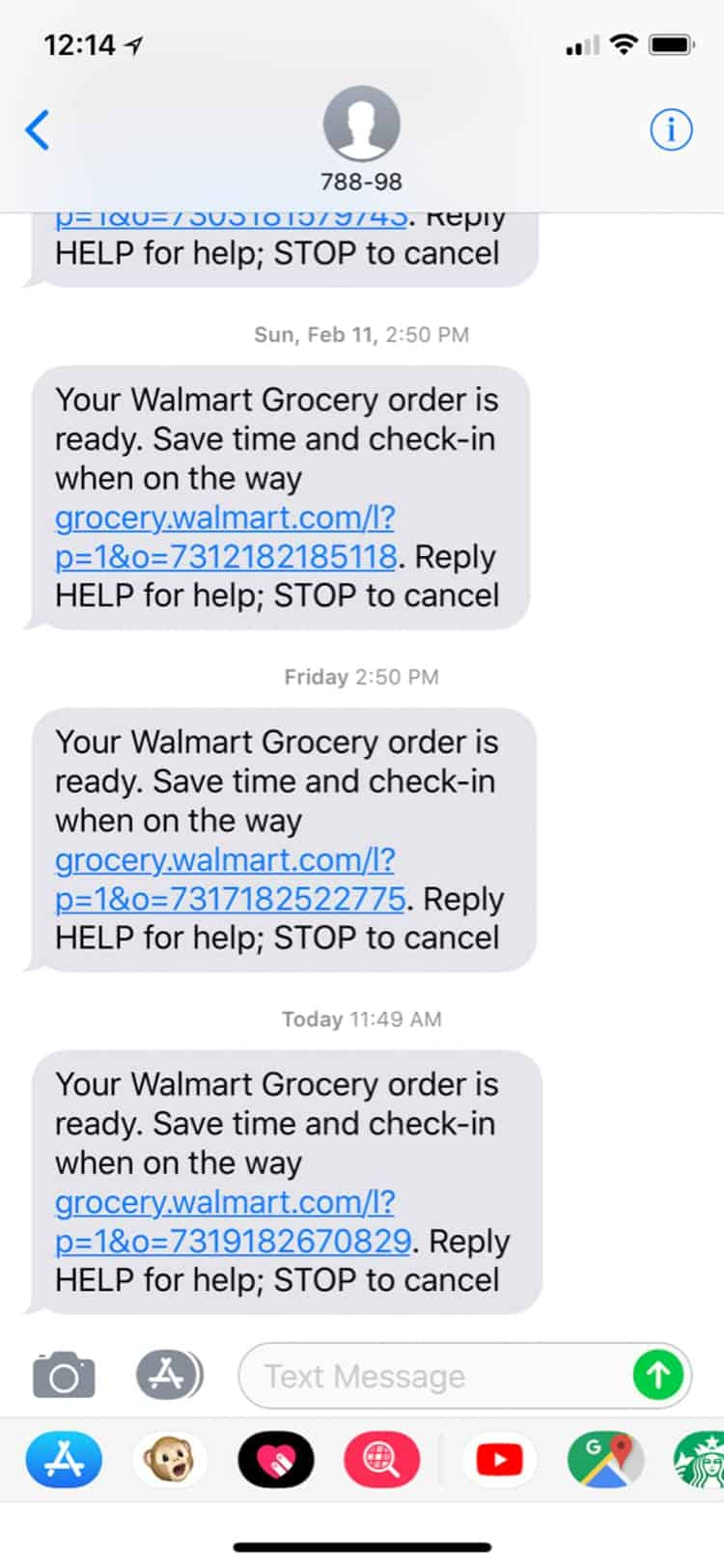 A photo of Text notification for online grocery order at Walmart