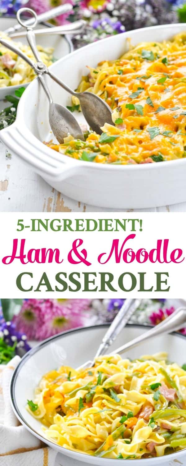 Long vertical image of ham and noodle casserole