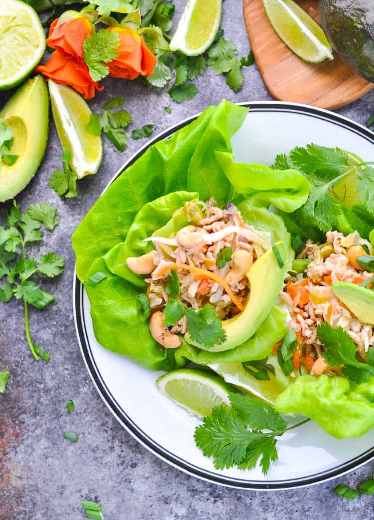 Close overhead photo of Asian Lettuce Wraps for a healthy dinner