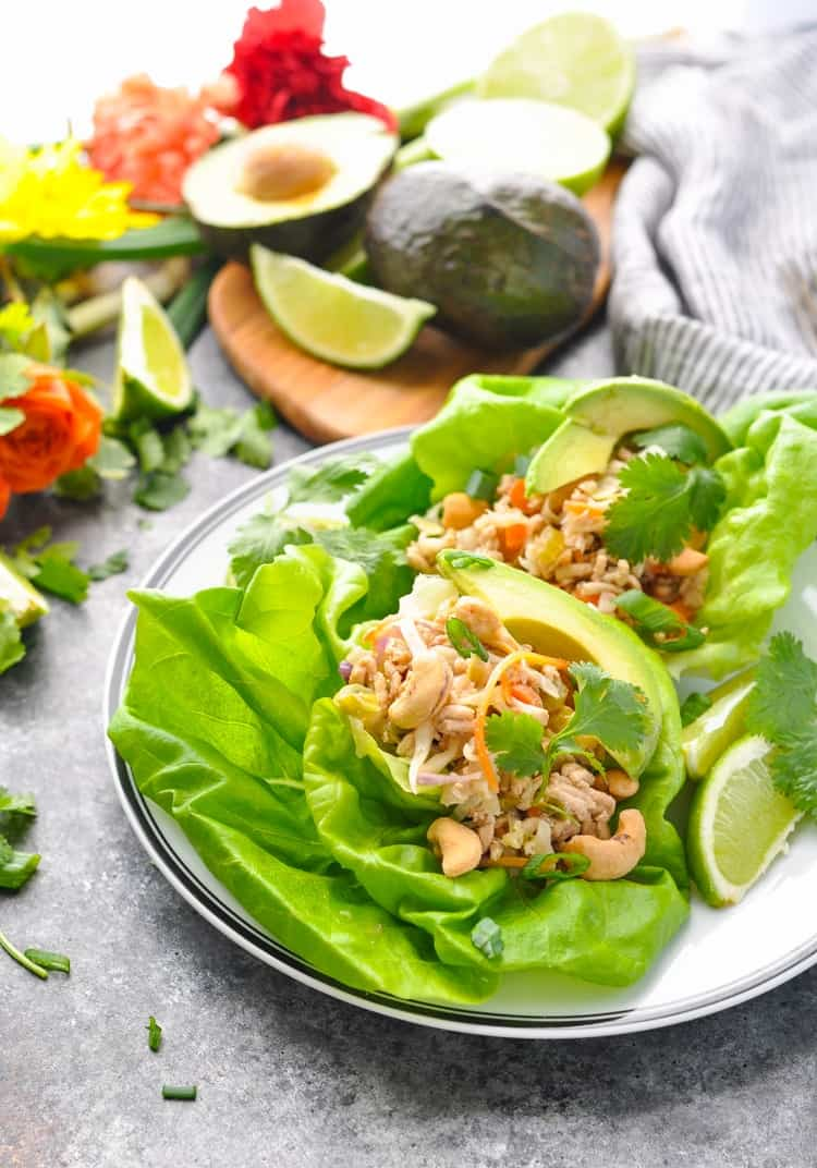A healthy dinner on a plate -- these Asian Turkey Lettuce Wraps!