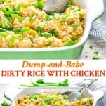 Long collage image of Dirty Rice Recipe with Chicken