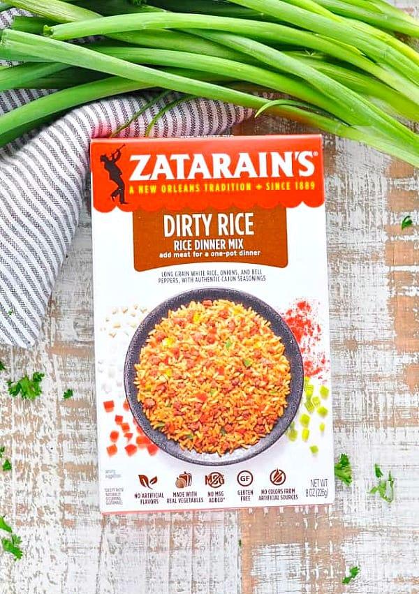 Overhead shot of box of Zatarain's Dirty Rice mix