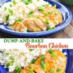 Long collage of Dump and Bake Bourbon Chicken recipe