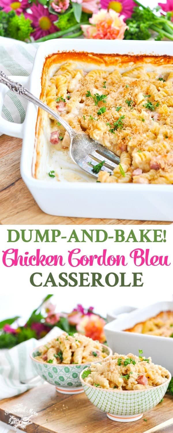 Long vertical image of chicken cordon bleu casserole in a dish and in serving bowls.