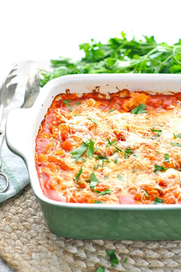 Gnocchi casserole with fresh parsley on top