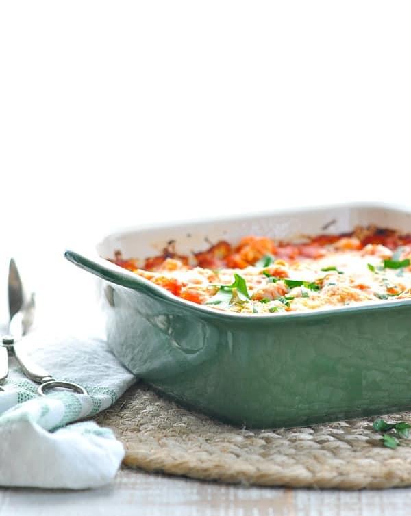 Gnocchi casserole in a green dish