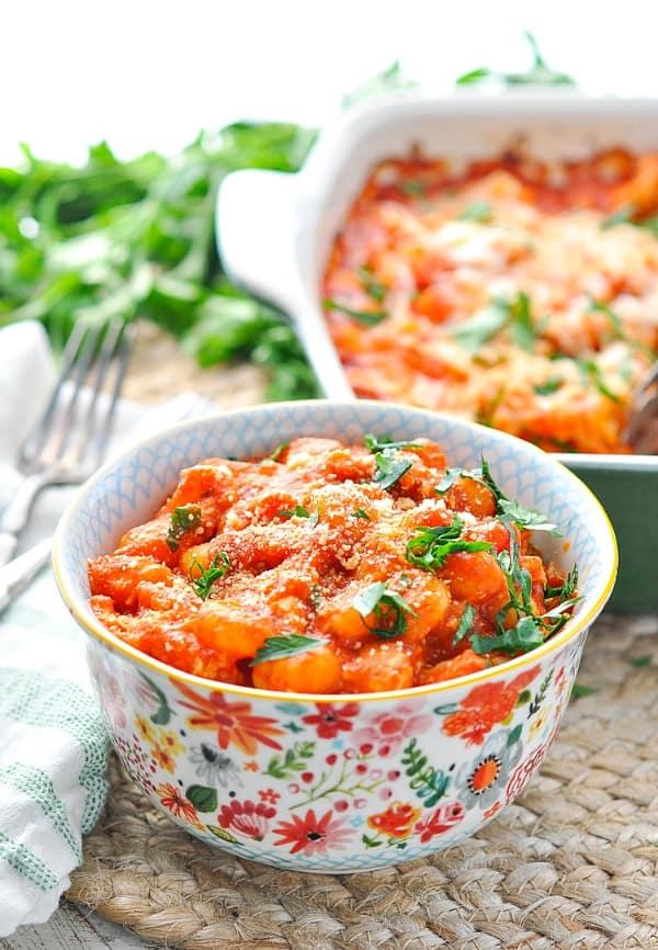 Colorful bowl of chicken marinara gnocchi