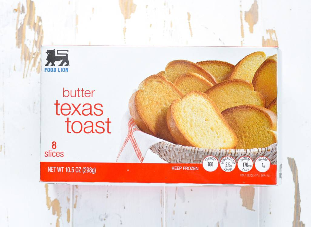 A photo of food lion butter texas toast sitting on a white wooden surface