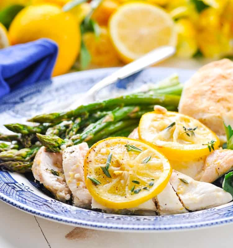 Dump and Bake Lemon Chicken is a healthy dinner recipe when served with asparagus.