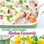 Long collage image of Dump and Bake Reuben Casserole
