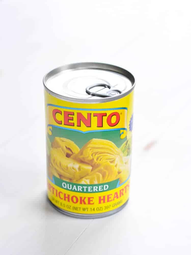 A can of quartered artichoke hearts