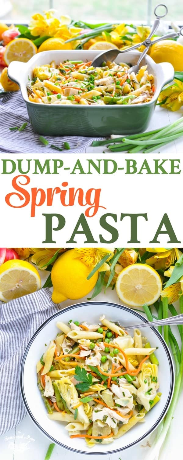 Long vertical overhead photo of Dump-and-Bake Spring Pasta for a one pot meal!