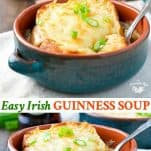 Long collage image of Easy Guinness Irish Soup