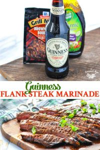 Long collage image of Guinness Flank Steak Marinade